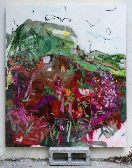 Elisa Grezzani , God bless thee!, Öl und Kunstharz auf Holz und Papier, 180 x 150 cm. Foto: Ivo Corrà